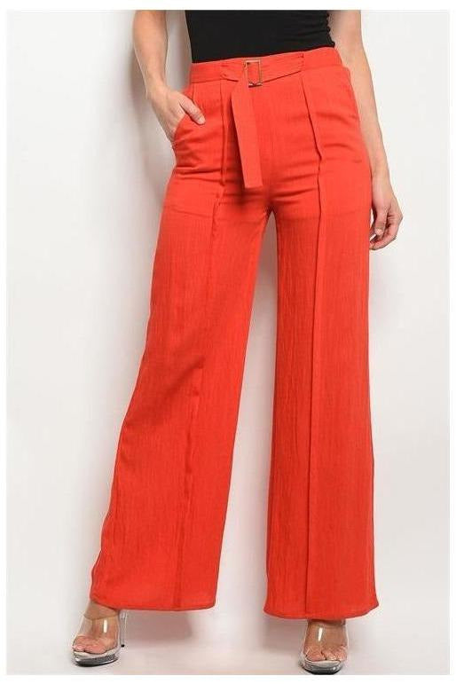 High Waisted Wide Leg Trousers, Red