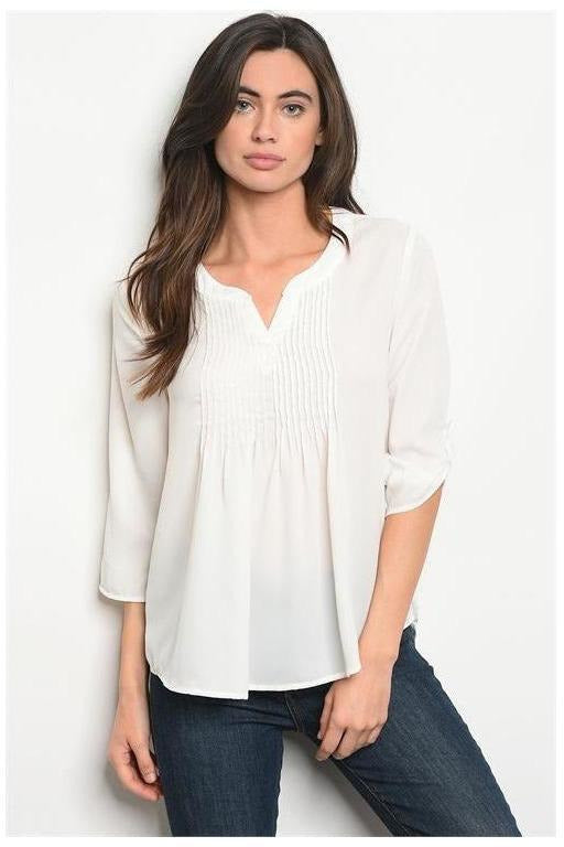 Pleated 3/4 Sleeve Ivory Stuff - RMC Boutique
