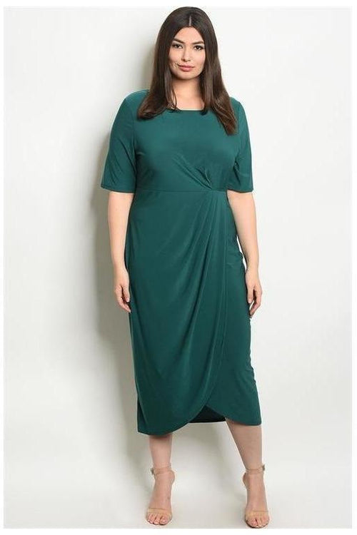 Deep Emerald Drape Knee Length Dress