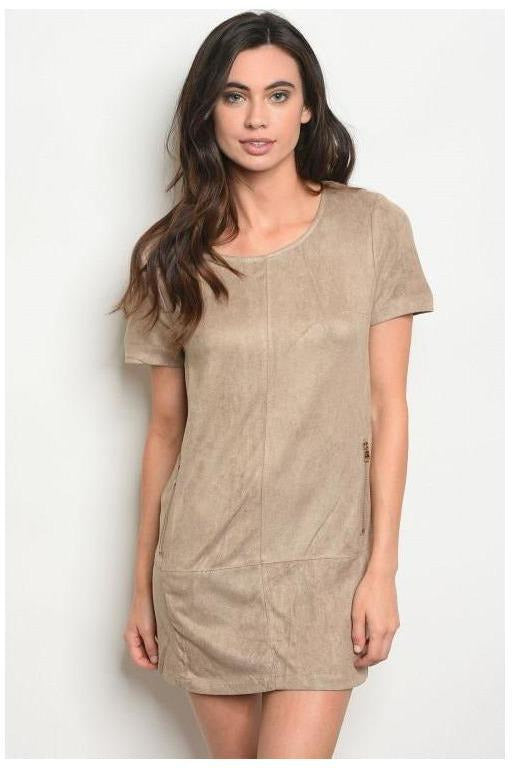 Faux Suede Short Sleeves Casual Dress