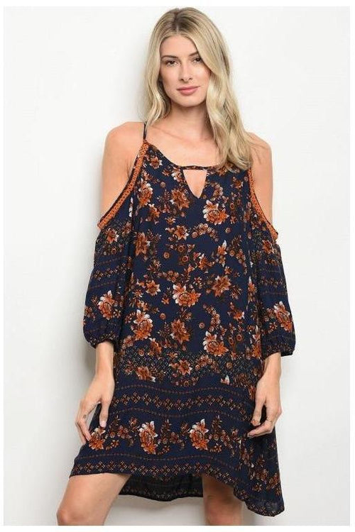 Cold Shoulder Paisley Print Navy And  Rust Dress