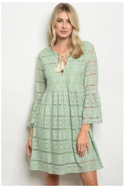 Lace Bell Sleeve Dress, Sage - RMC Boutique