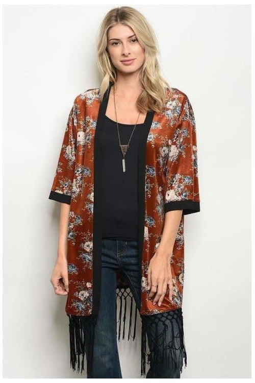 Rustic Rose Sun Burnt Kimono With Fringe Detail