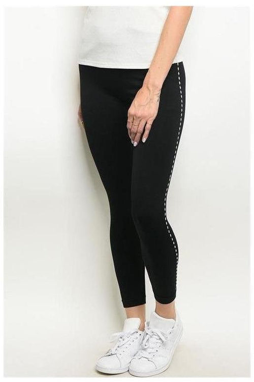 Black Leggings Diamond Sequin Trim