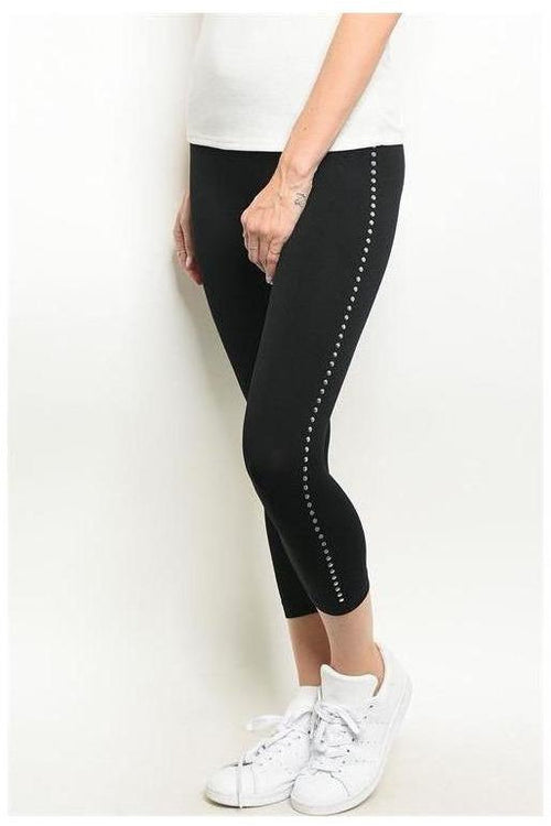 Black Leggings W/ Round Sequin Trim