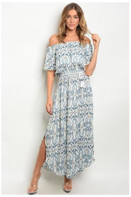 Coastal Dreams Off The Shoulder Printed Maxi Dress