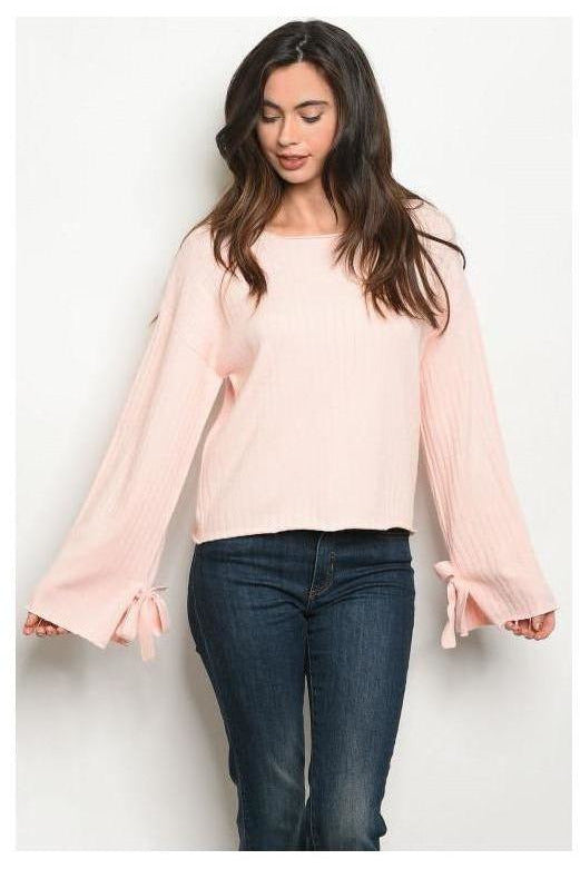 Ribbon Sleeve Everyday Sweater, Blush - RMC Boutique