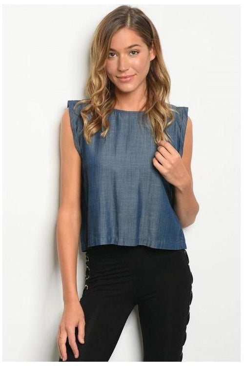 High Neck Denim Chambray Top