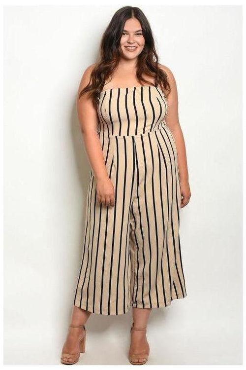 Sleeveless Striped Jumpsuit, Plus Size