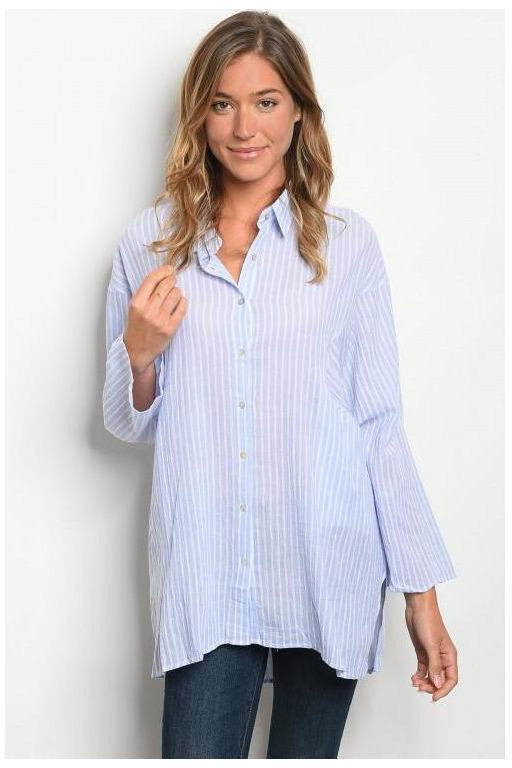 Long Sleeve Button Down  Pinstripe Top