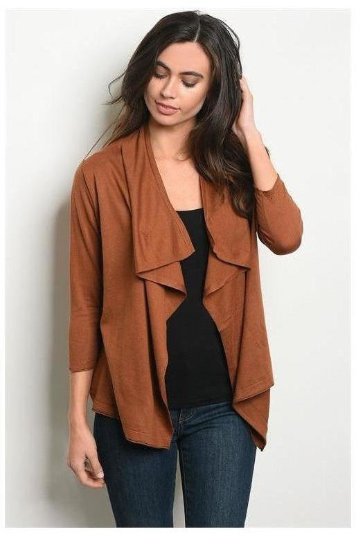 Rustic Brown Long Sleeve Drape Cardigan