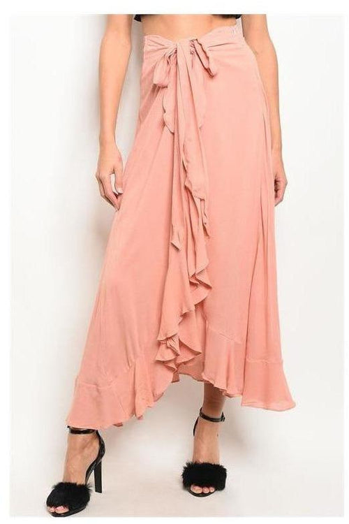 Blush Ruffle Detail Pants