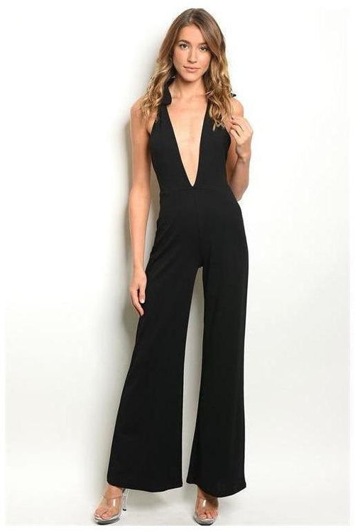Deep V Jumpsuit, Black