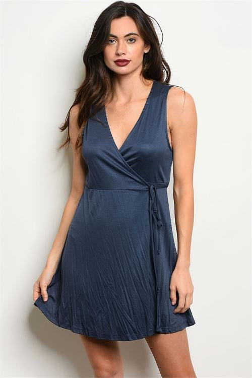 Dusty Blue Wrap Dress - RMC Boutique