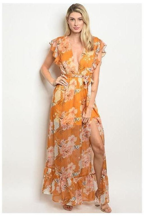 Colors Of The Season, Floral Mustard Maxi Dress