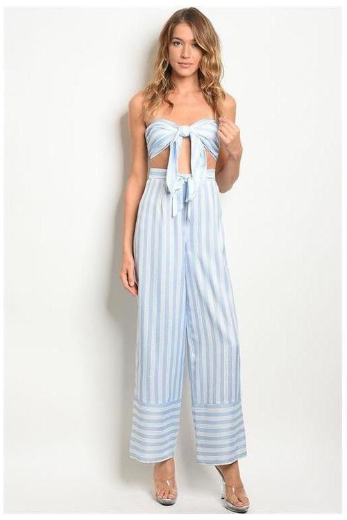 Striped Two Piece Crop Top Set