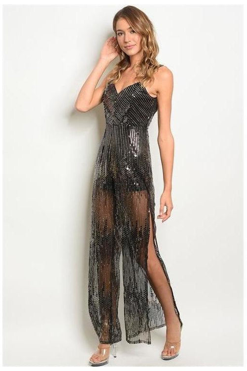 Night Owl Shimmer Black Sequin Jumpsuit