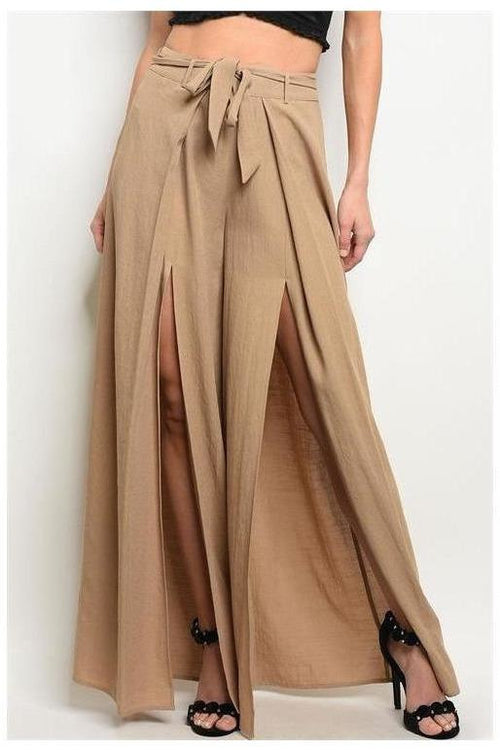 Fitted Waist Front Slit Trousers