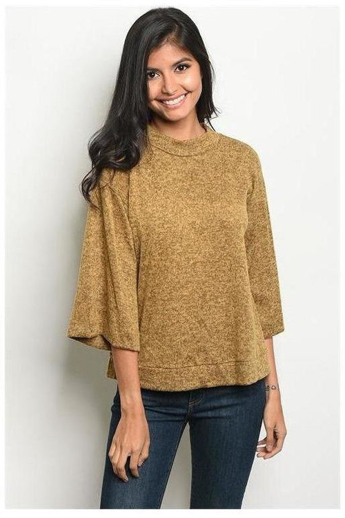 Soft Mock Neck Marled Knit Top