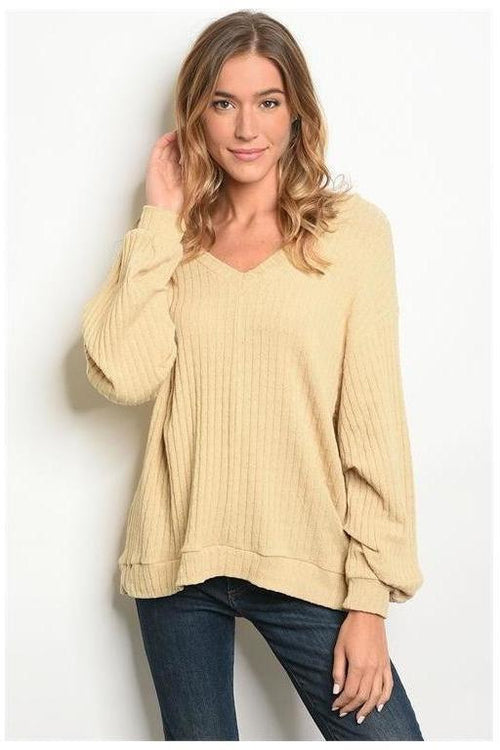 Taupe Ribbed Knit Sweater
