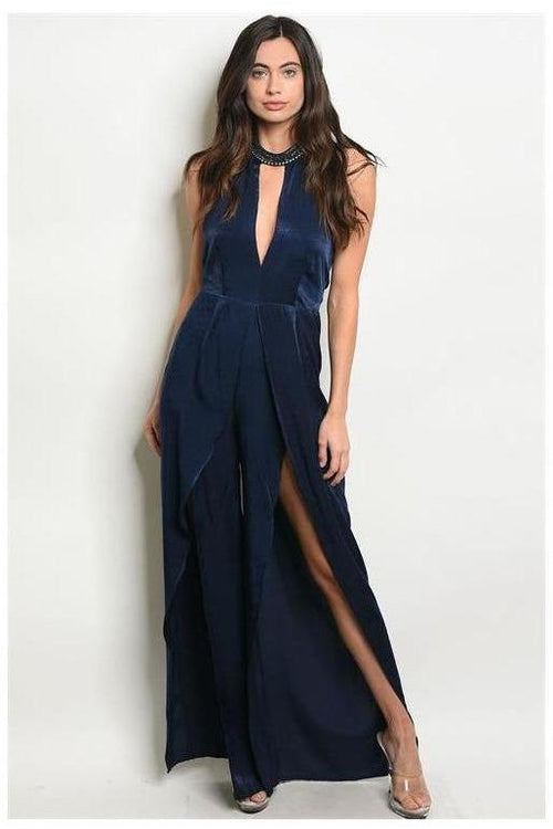 Fancy Affair Royal Blue Halter Style Jumpsuit - RMC Boutique
