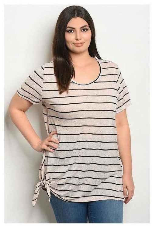 Striped Scoop Neck Side Knot Top