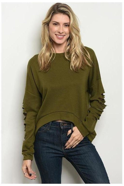 Distressed Sleeve Olive Sweater