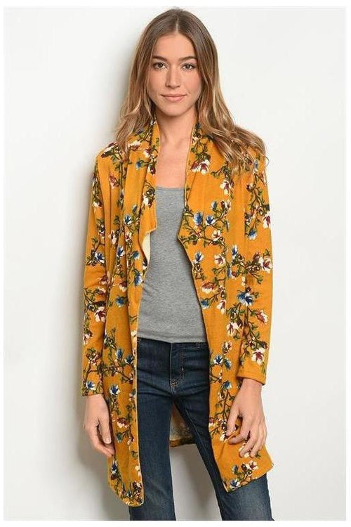 All The Feels,Floral Mustard Cardigan
