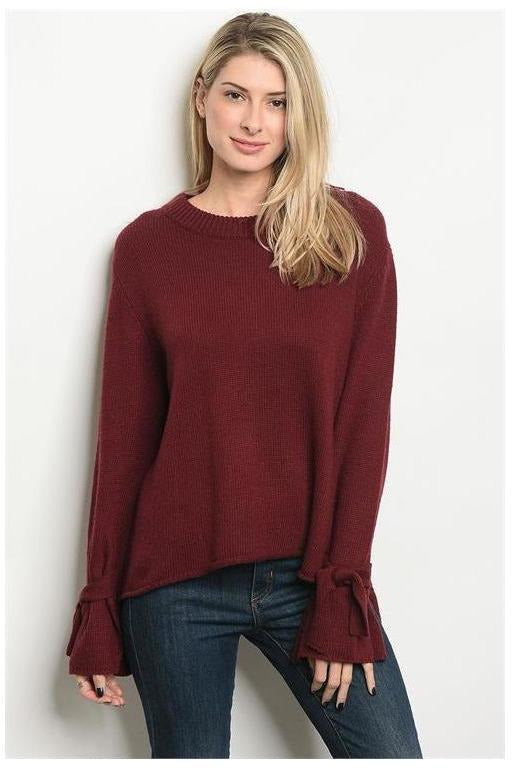Burgundy Bell Bowtie Sleeve Sweater