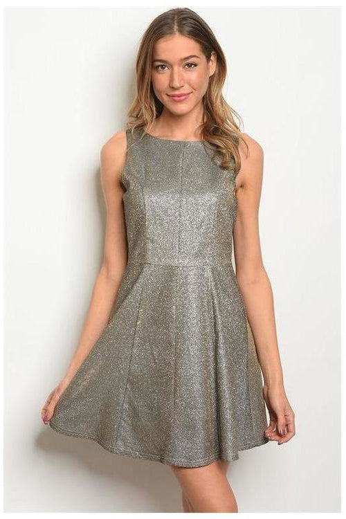 Metallic Shimmer Skater Dress
