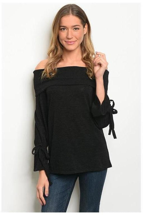 Off The Shoulder Bow Detail Light Top