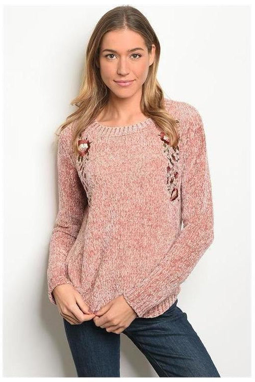 Blush Embroidered Chenille Sweater