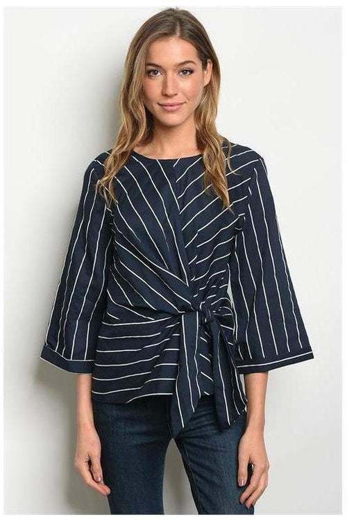 Satin Feel Striped Tie Front Top