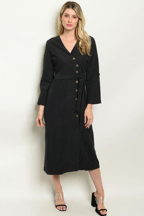 Button Up Detail Black Dress - RMC Boutique