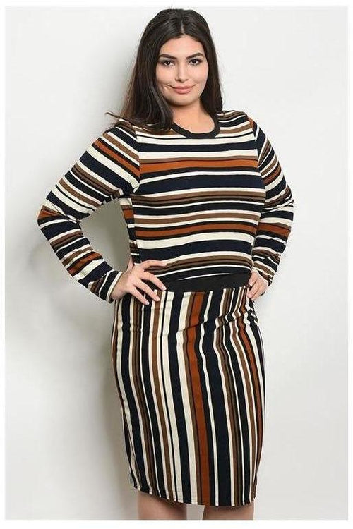 Striped Long  Sleeve Two Piece Set, Curvy