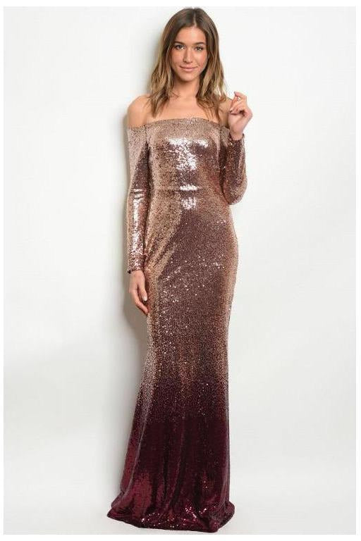 Rose Gold Ombre' Sequin Gown - RMC Boutique