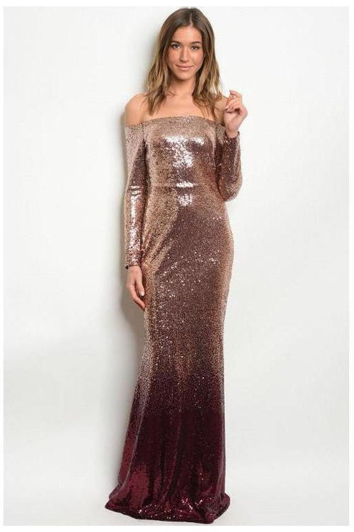 Rose Gold Ombre' Sequin Gown