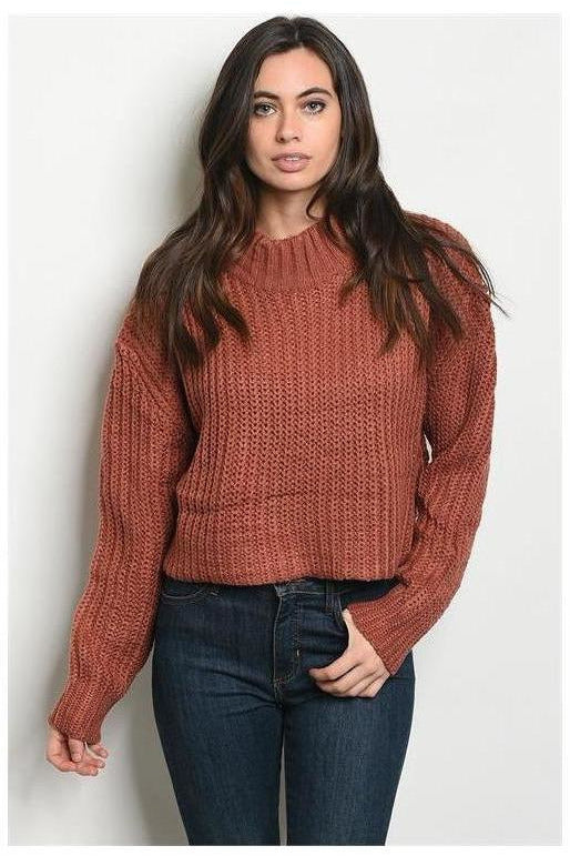 Cropped Mock Neck Pullover Knit Sweater