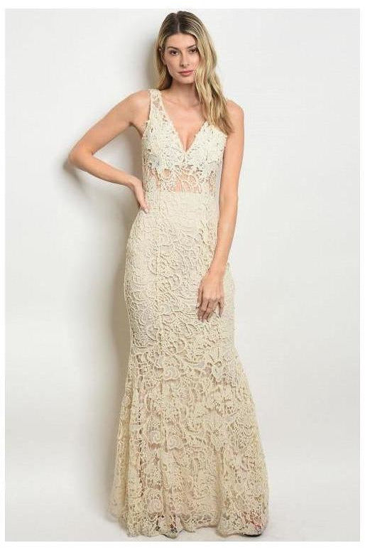 Off White Lace Maxi Gown