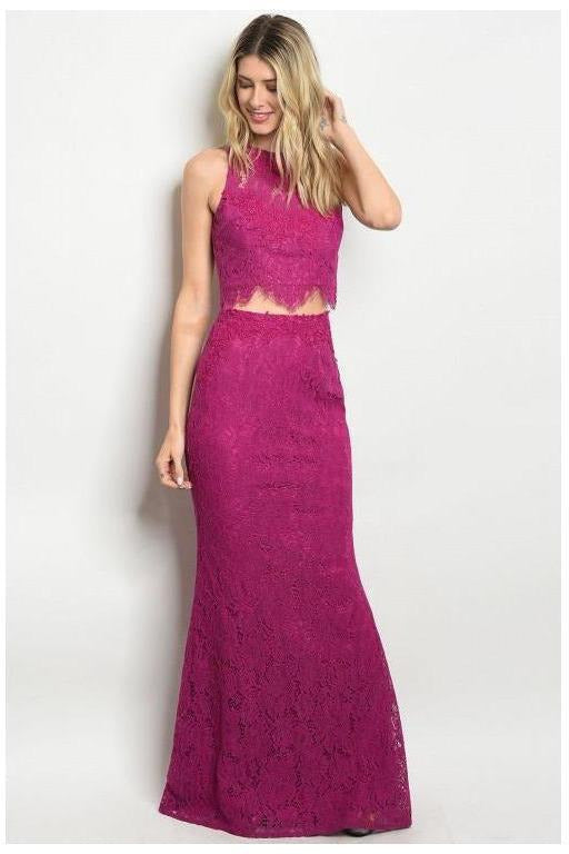Lace Magenta Two Piece Set