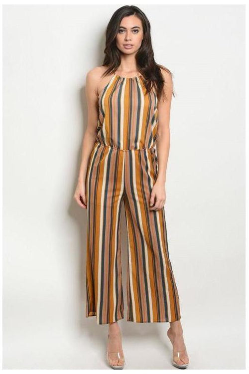 Halter Style Striped Jumpsuit