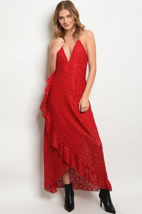 Lady In Red, Sleeveless Lace Dress - RMC Boutique
