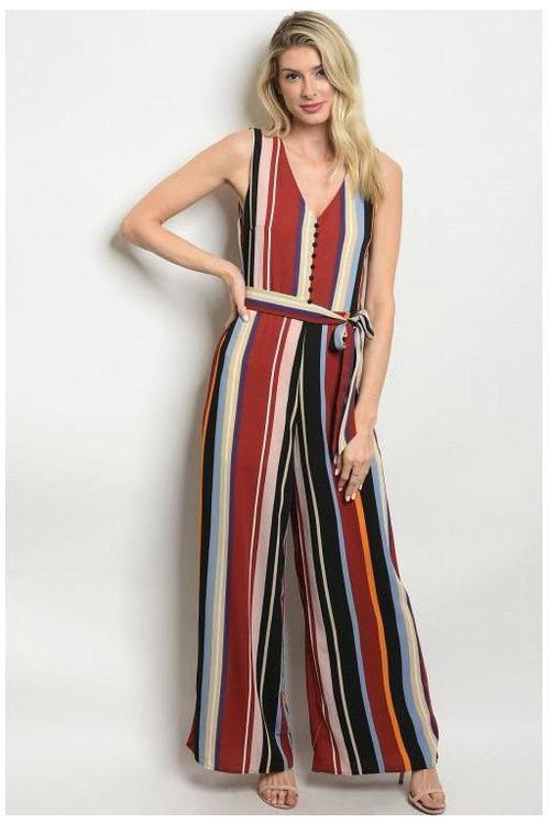 Le Lis Sleeveless Striped Jumpsuit