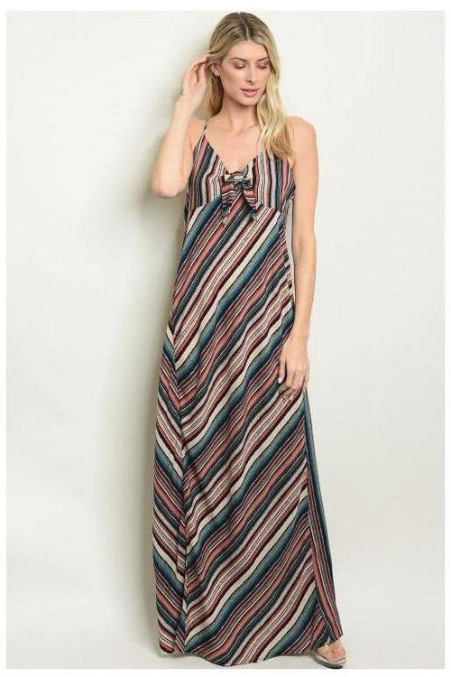 Let's Get Away, Striped Maxi Dress - RMC Boutique