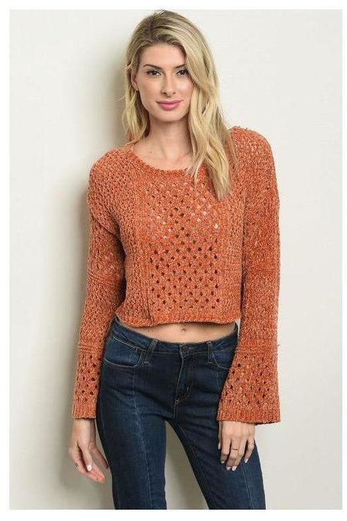 Crop Top Knit Rust Sweater