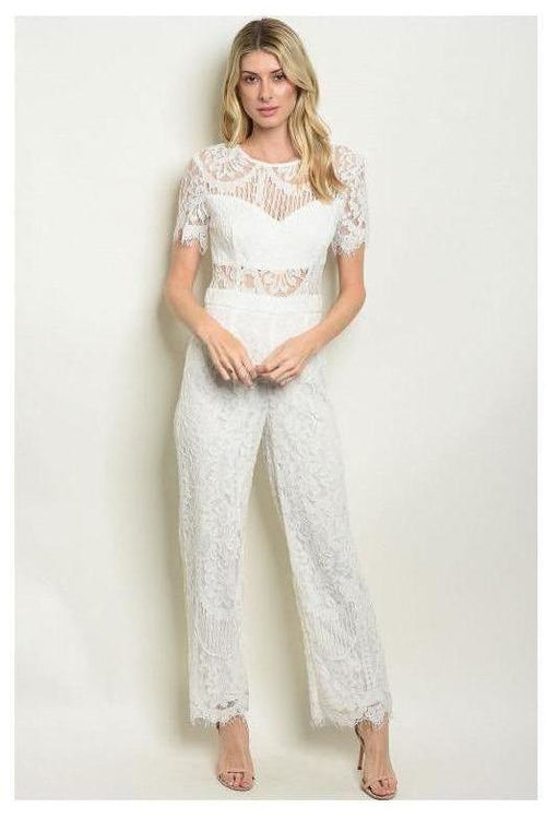 Lace Jumpsuit, White