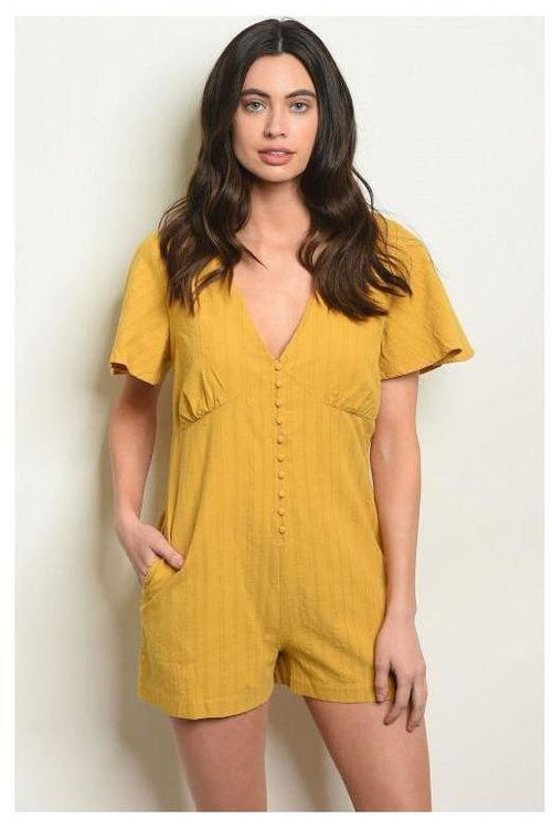 Subtle Stripes, Button Up Mustard Romper