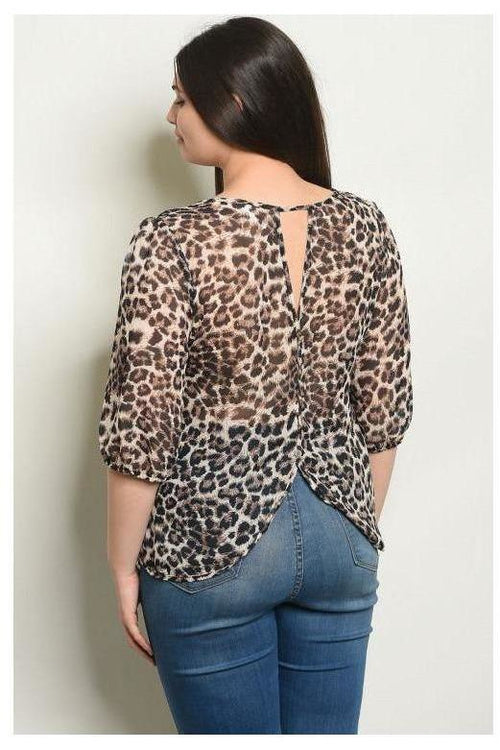 Reversible Button Detail Leopard Print Top