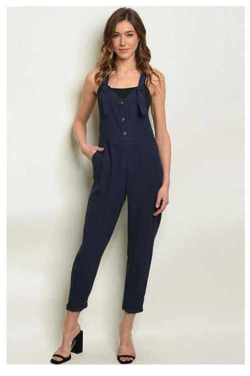 Navy Button Up Jumpsuit Overalls