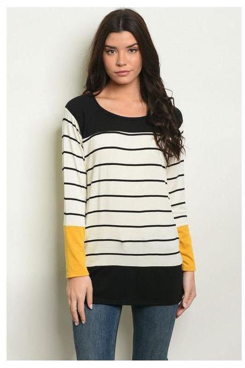 Long Sleeve Striped  Navy Top, Mustard
